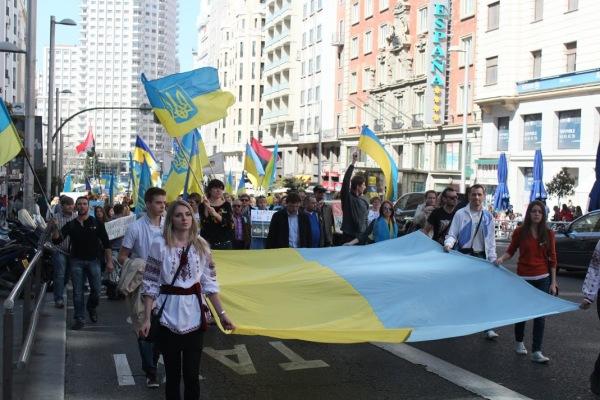 Manifestación en Madrid por la unidad territorial de Ucrania