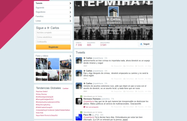 Una captura de pantalla de la cuenta de twitter del supuesto controlador aéreo español en Ucrania