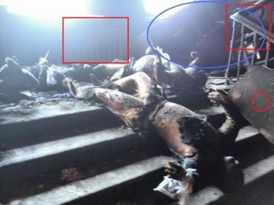 La misma foto que la anterior desde otra perspectiva. Aquí vemos el cubre radiadores de madera que no fue totalmente quemado, y el circulo de color azul muestra las barricadas de sillas y mesas que esta intacto. Posiblemente fueron construidas desde le interior con el fin de impedir escaparse a plantas más altas.