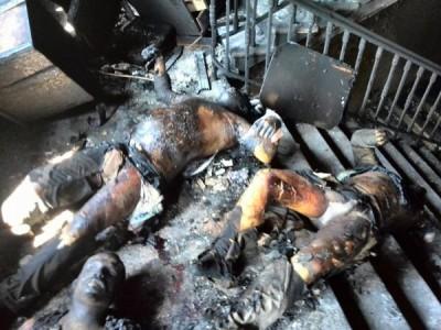 Cuerpos calcinados por el fuego, sin embargo elementos de alrededor no tanto.