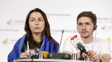 Activistas pro ucranianos de Donetsk. Donetsk es Ucrania.