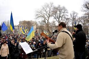 Pavlo Khazan en Maidan de Dniepropetrovsk.