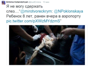 Especulación atroz con el niño herido en Siria como si fuese Donetsk.