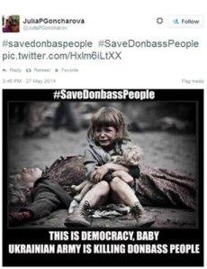 Ilustración falsa utilizada para ilustrar hechos en Donetsk por periodistas rusos.