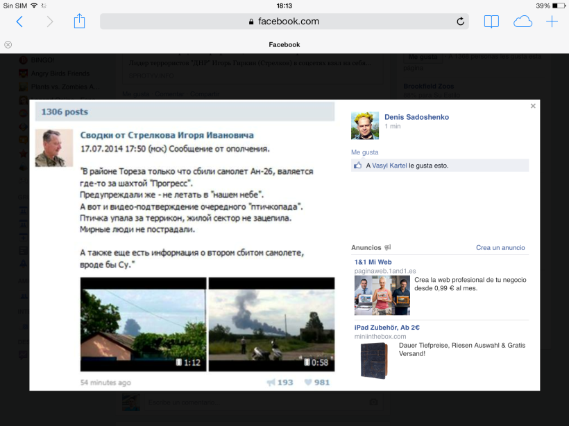 Comunicado en VK de Strelok, posteriormente borrado