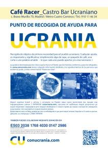 punto de recogida de ayuda para Ucrania