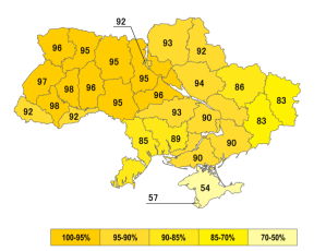 Map of support of Ukrainian independence in the 1991 referendum