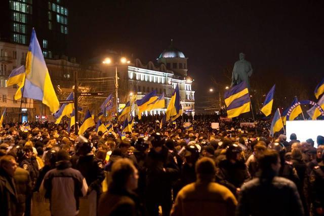 Manifestación por la unidad de Ucrania en Donetsk