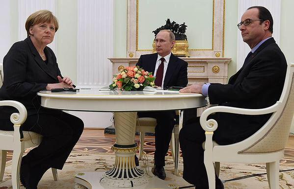 Merkel, Hollande, Putin