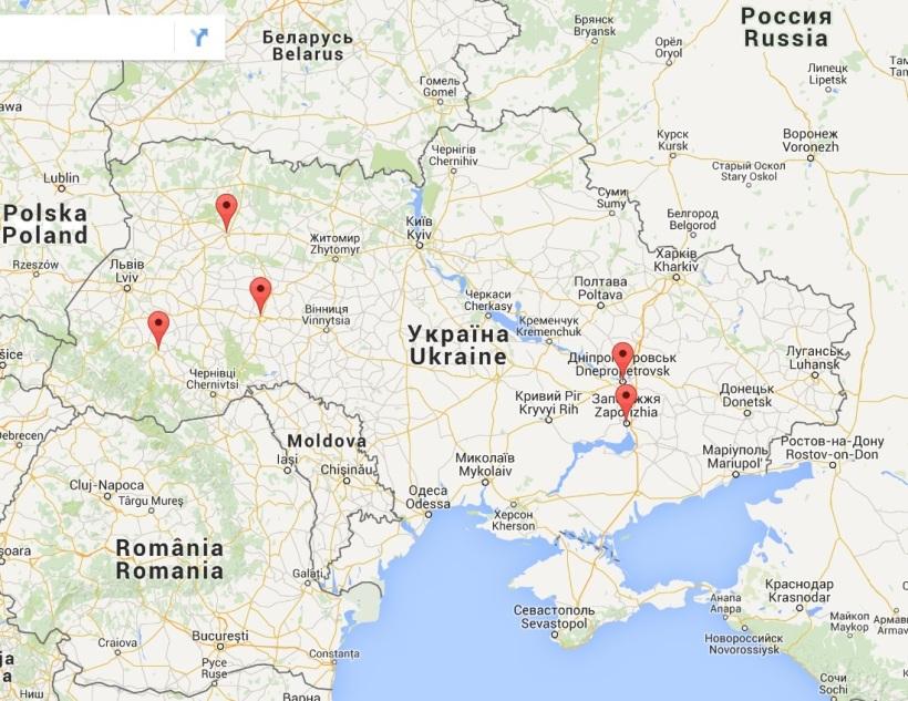 Mapa de Ucrania. Los cinco soldados heridos
