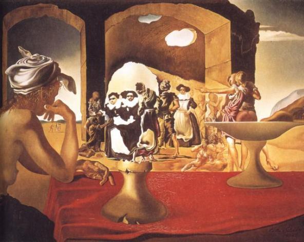 """""""Mercado de esclavos con el busto invisible de Voltaire""""."""