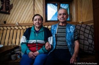 Yuriy Myromiuk y su esposa Olena. Aquí se encontraron con sus destinos.