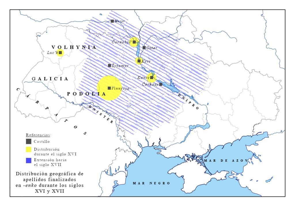Mapa de distribución del sufijo -enko s. XVI-XVII