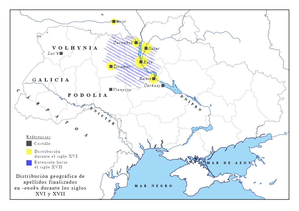 Mapa de distribución del sufijo -enokъ s. XVI-XVII