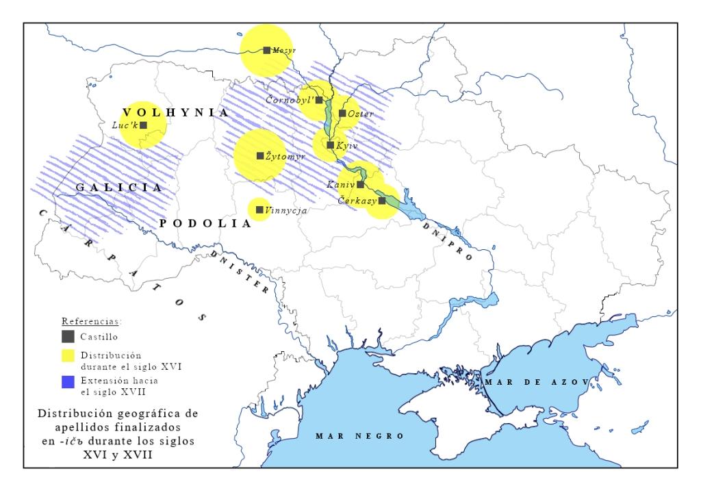 Mapa de distribución del sufijo -ičъ s. XVI-XVII