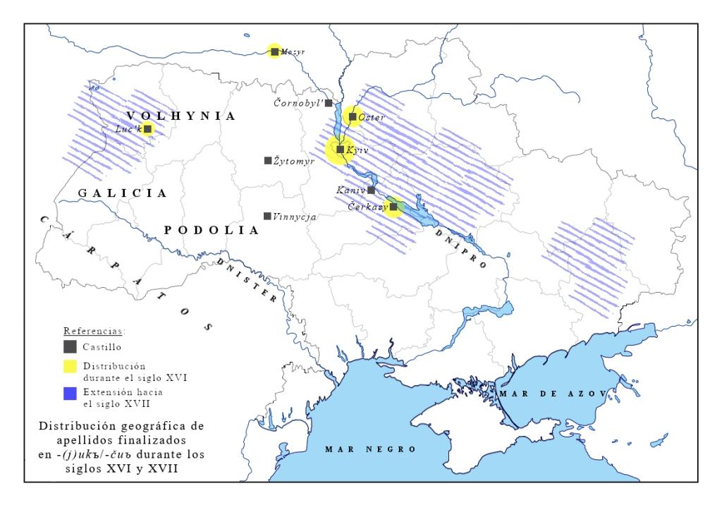 Mapa de distribución del sufijo  -(j)ukъ, -čuъ s. XVI-XVII