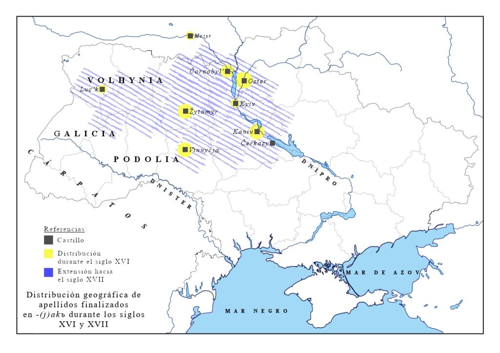 Mapa de distribución del sufijo -(j)akъ s. XVI-XVII